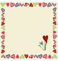 Square frame of hearts on a yellow background vector image vector image