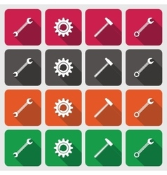 Tools icons set cogwheel gear hammer wrench vector