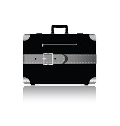 travel suitcase with silver belts vector image