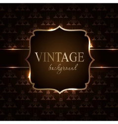 Vintage background with golden frame vector image vector image