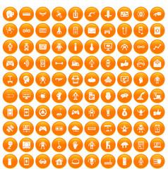 100 robot icons set orange vector