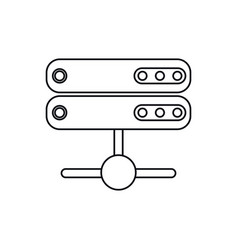 data server technology system thin line vector image