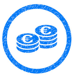 Euro coin stacks rounded icon rubber stamp vector