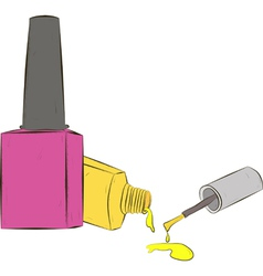 Two bottle of nail polish on white background vector