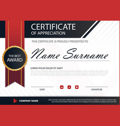 Red black elegance horizontal certificate with vector
