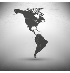 North and south america map on gray background vector