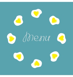 Egg round food frame menu cover flat design vector