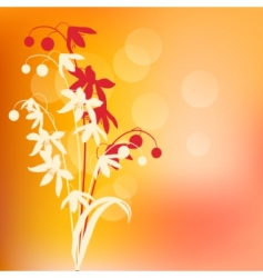 Warm background with spring flowers vector