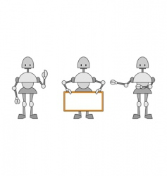 Three funky robots vector