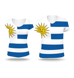 Flag shirt design of uruguay vector
