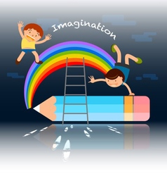 Back to school kids playing over the rainbow vector