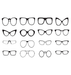 Eyeglasses silhouette set vector