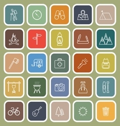 Trekking line flat icons on green background vector