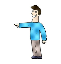 Comic cartoon pointing man vector