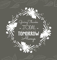 Happy thanksgiving floral wreaths vector
