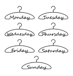Hangers with days of the week vector