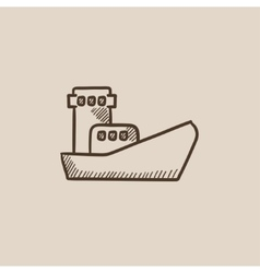 Cargo container ship sketch icon vector
