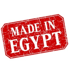 Made in egypt red square grunge stamp vector
