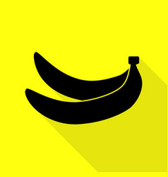 Banana simple sign black icon with flat style vector