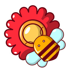 Bee on a flower icon cartoon style vector