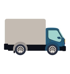 Colorful silhouette truck with wagon vector