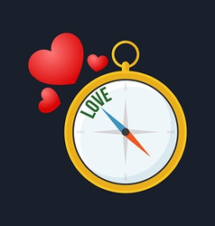 Compass points to love flat design isolated on vector