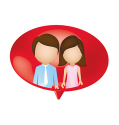 couple together inside chat bubble vector image