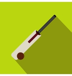 Cricket bat and ball icon flat style vector image