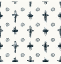 Doodle sketch seamless pattern with circles and vector