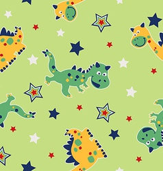 Dragon and stars seamless pattern vector