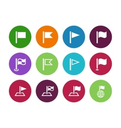 Flag circle icons on white background vector