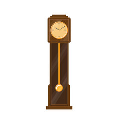 Flat vintage grandfather clock isolated vector