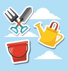 gardening tool equipment with sky background vector image