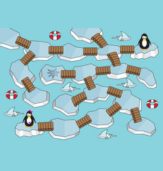 iceland maze game kids penguin rescue labyrinth vector image