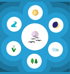 Icon flat nature set of cloud tree crescent and vector