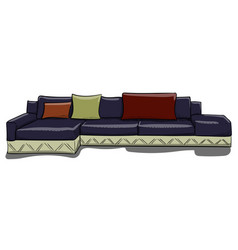 large dark blue sofa with pillows on a white vector image vector image