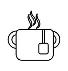 mug tea hot drink office line vector image