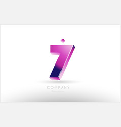 Number 7 seven black white pink logo icon design vector