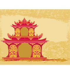 old paper with Chinese temple vector image