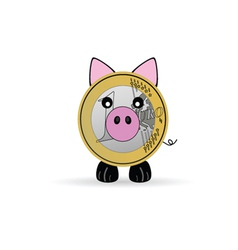 piggy bank with one euro vector image