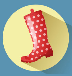Red classic gumboot with white dots pattern vector
