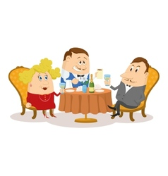 Restaurant couple near table isolated vector
