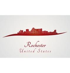 Rochester skyline in red vector