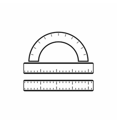 Ruler and protractor icon simple style vector