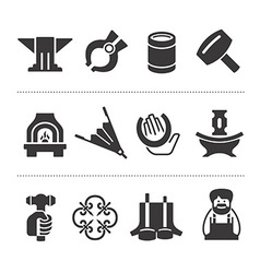 Set of blacksmithing icons vector image vector image