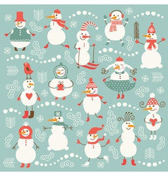 Set of cute snowmans vector image vector image