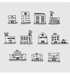 sketch hospital icon vector image vector image