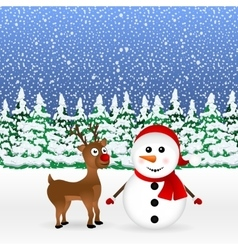 Snowman with reindeer and a standing vector image vector image