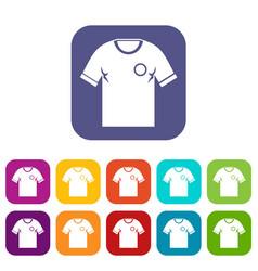 soccer shirt icons set flat vector image vector image