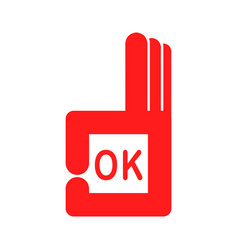 square graphic design hand with ok sign vector image